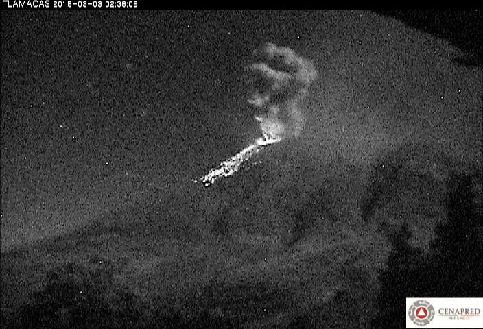Explosion from Popocatépetl last evening