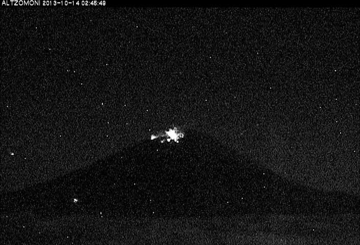 Eruption from Popocatépetl yesterday night