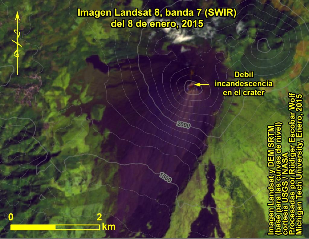 Weak incandescent spot, but no degassing from Mackenney crater on 8 Jan 2015 (Landsat 8 image / processed by Rudiger Escobar Wolf @rudigerescobar / twitter)
