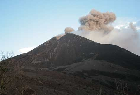An ash plume from Pacaya, 18 December. Image by CONRED
