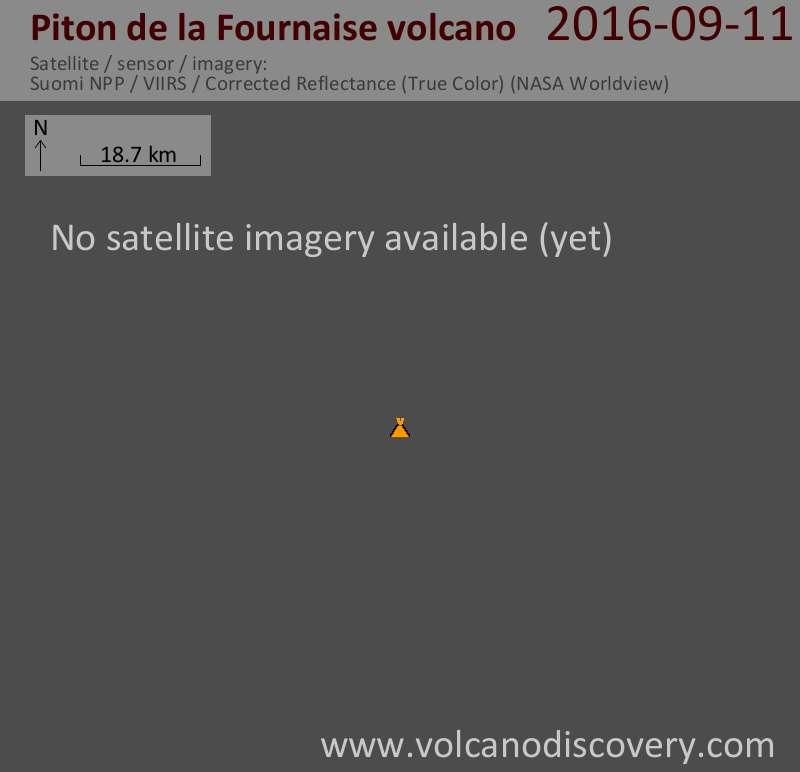 Satellite image of Piton de la Fournaise volcano on 11 Sep 2016