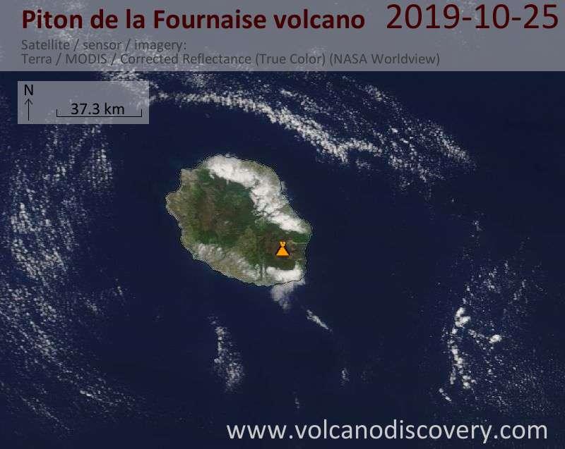 Satellite image of Piton de la Fournaise volcano on 25 Oct 2019