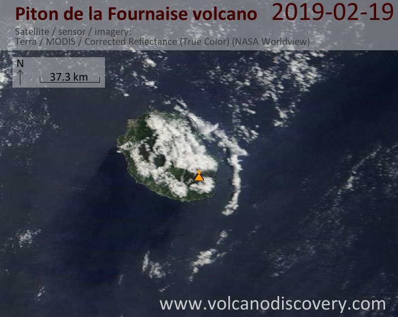 Satellite image of Piton de la Fournaise volcano on 19 Feb 2019