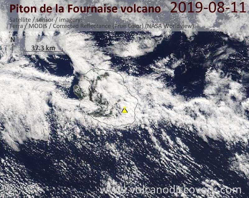 Satellite image of Piton de la Fournaise volcano on 11 Aug 2019