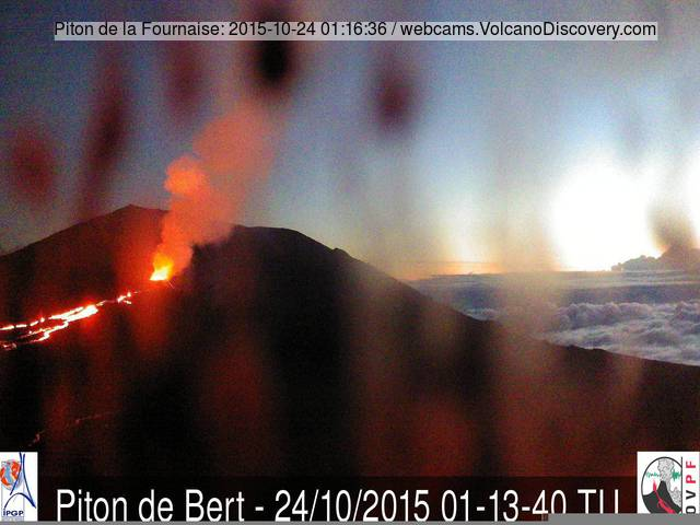 The lava flows from Piton de la Fournaise still active yesterday morning