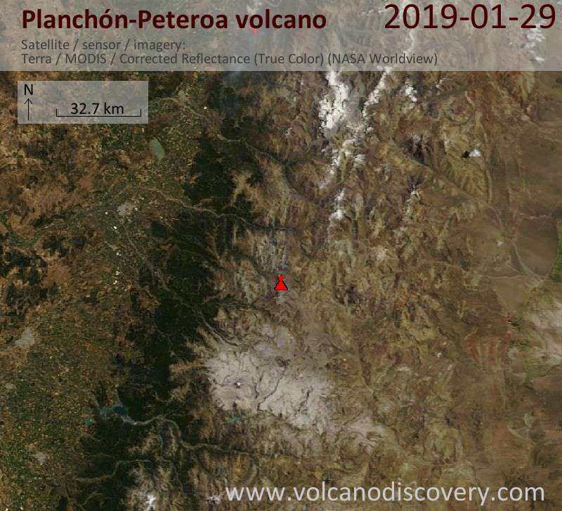 Satellite image of Planchón-Peteroa volcano on 29 Jan 2019