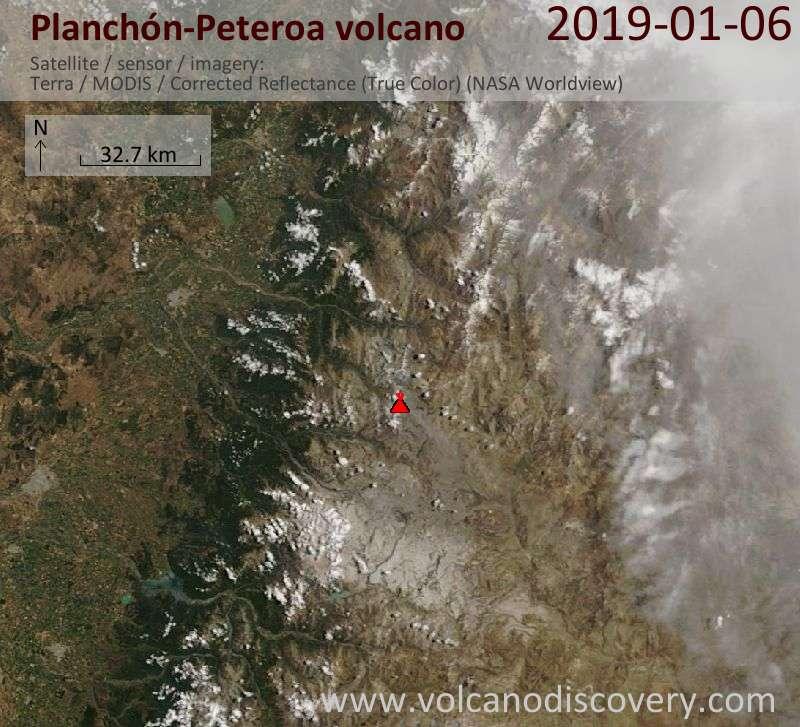 Satellite image of Planchón-Peteroa volcano on  6 Jan 2019