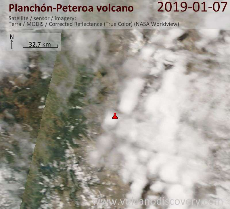 Satellite image of Planchón-Peteroa volcano on  7 Jan 2019