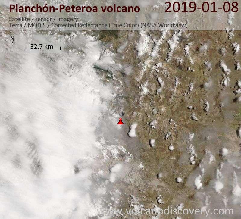 Satellite image of Planchón-Peteroa volcano on  8 Jan 2019