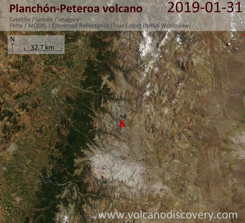 Satellite image of Planchón-Peteroa volcano on  1 Feb 2019