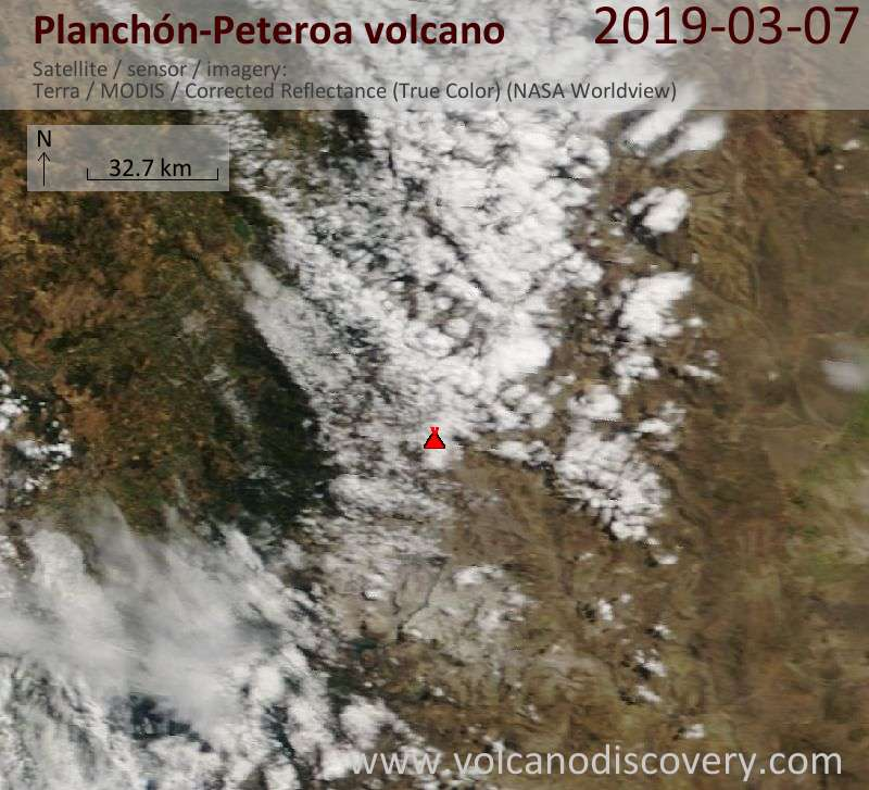 Satellite image of Planchón-Peteroa volcano on  7 Mar 2019