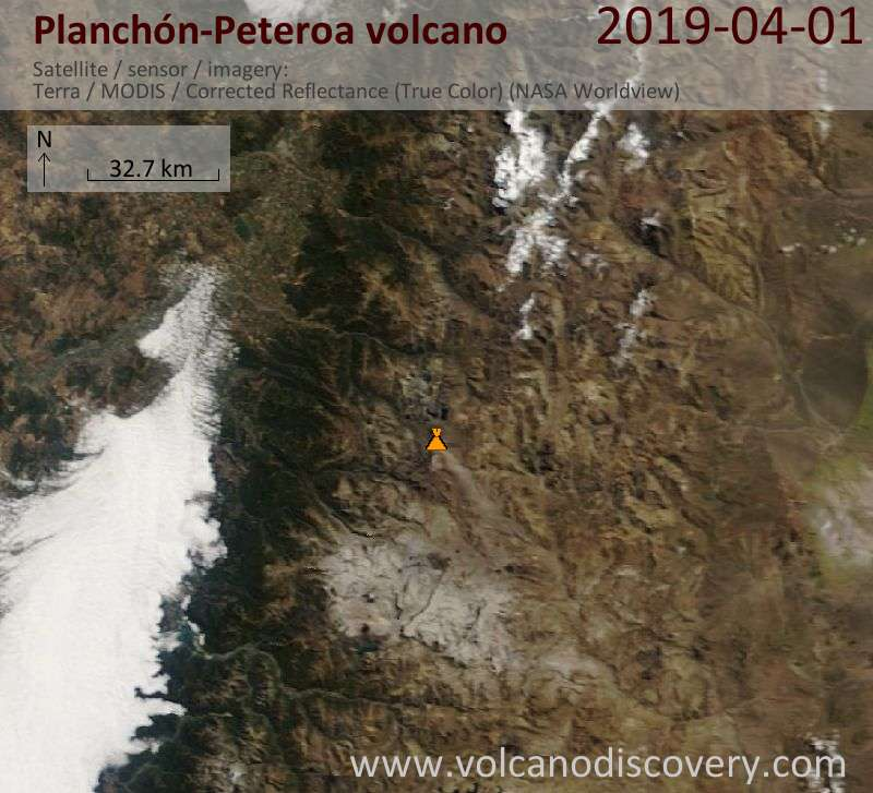 Satellite image of Planchón-Peteroa volcano on  1 Apr 2019