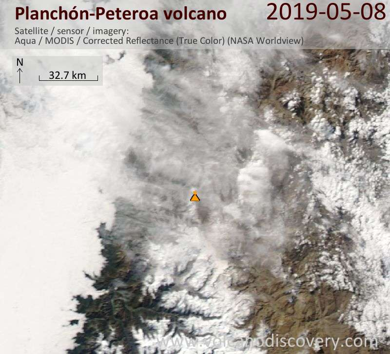Satellite image of Planchón-Peteroa volcano on  8 May 2019