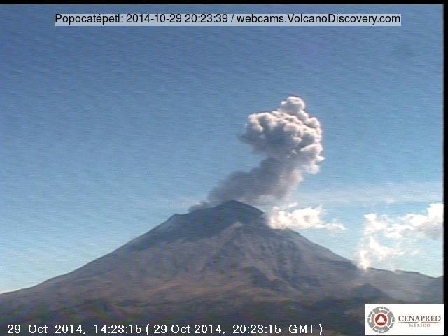 Ash explosion from Popoatépetl yesterday afternoon