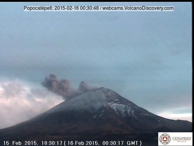 Ash eruption from Popocatépetl last evening