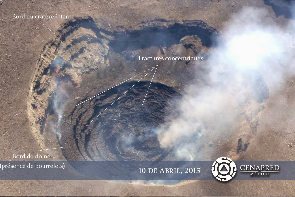 Aerial view of Popo's crater on 10 April with the partially collapsed lava dome (CENAPRED)