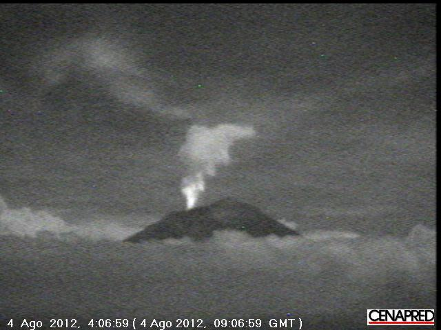 Webcam image of Popo early on 4 Aug (CENAPRED)
