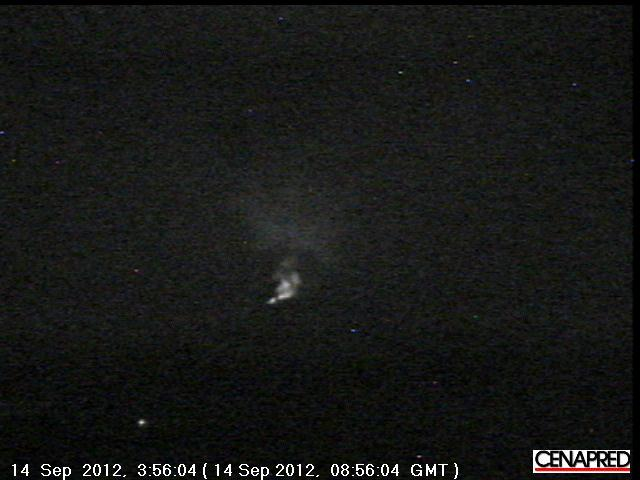 Popo with glow from the summit seen early on 14 Sep (CENAPRED)