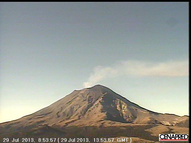 Gas pluim van Popocatépetl
