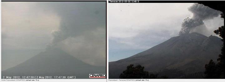 Ash eruption at Popocatépetl volcano on 2 May 2012 (CENAPRED webcam images)