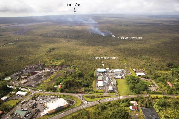 Aerial view from the NE towards the approaching lava flow front near Pahoa (HVO)