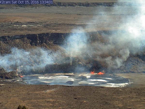 Small overflow of Kilauea's summit lava lake on 15 Oct 2016 (image: HVO)