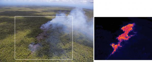 View of the pad of lava with the equivalent view from a thermal camera. (HVO
