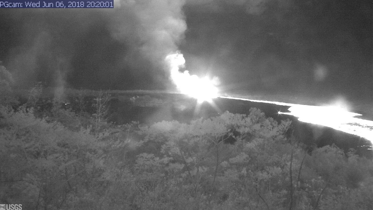 Lava fountaining and active flow to the NE from fissure #8 at Kilauea's lower east rift zone this morning (night in Hawaii)