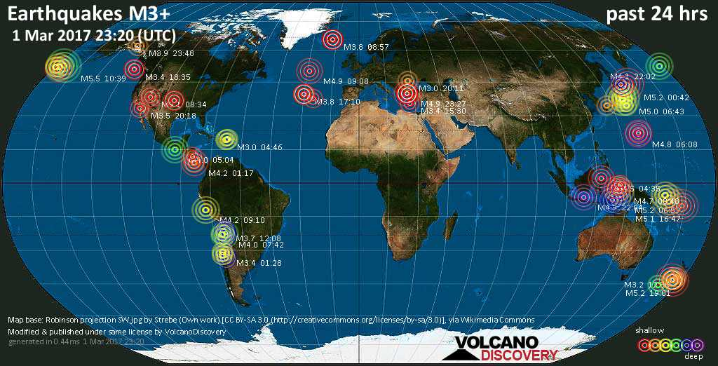 World map showing earthquakes above magnitude 3 during the past 24 hours on  1 Mar 2017