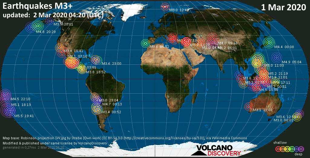 World map showing earthquakes above magnitude 3 during the past 24 hours on  2 Mar 2020