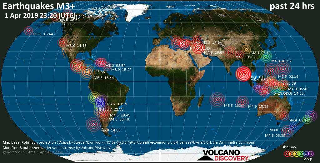 World map showing earthquakes above magnitude 3 during the past 24 hours on  1 Apr 2019