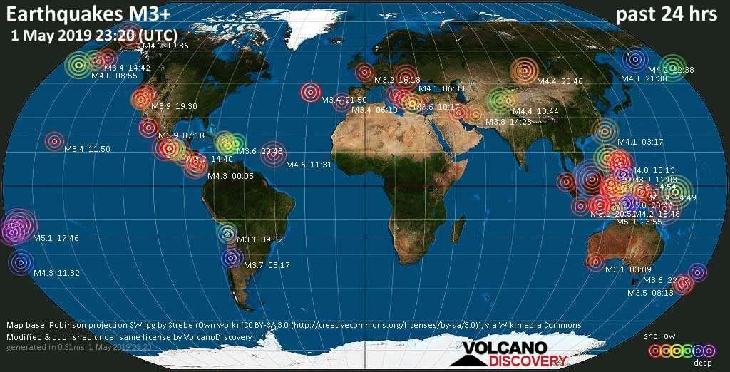 World map showing earthquakes above magnitude 3 during the past 24 hours on  1 May 2019