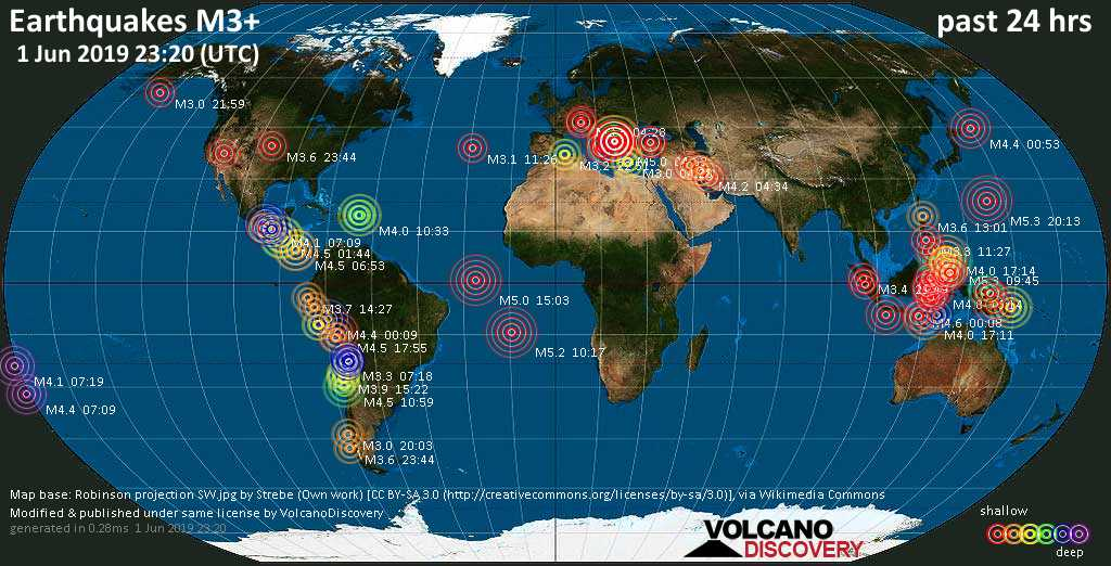 World map showing earthquakes above magnitude 3 during the past 24 hours on  1 Jun 2019