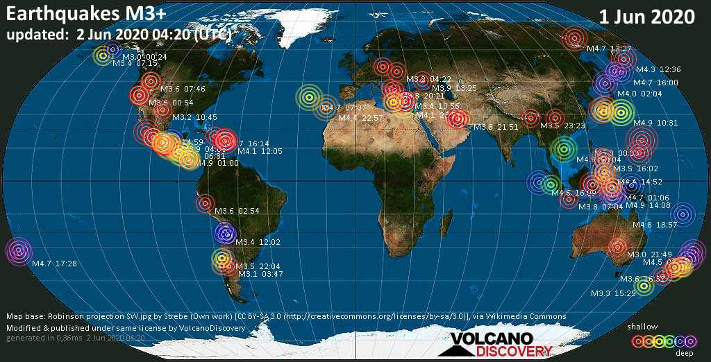 World map showing earthquakes above magnitude 3 during the past 24 hours on  2 Jun 2020