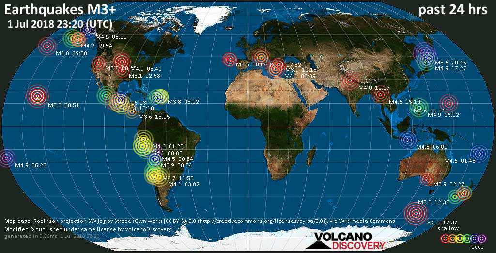 World map showing earthquakes above magnitude 3 during the past 24 hours on  1 Jul 2018
