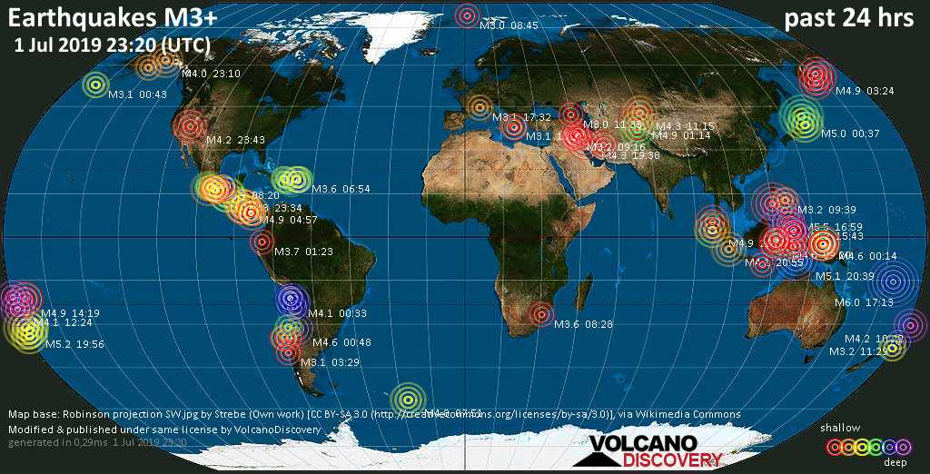 World map showing earthquakes above magnitude 3 during the past 24 hours on  1 Jul 2019