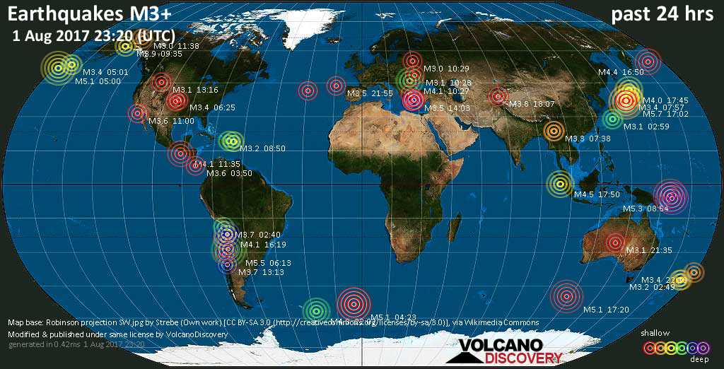 World map showing earthquakes above magnitude 3 during the past 24 hours on  1 Aug 2017