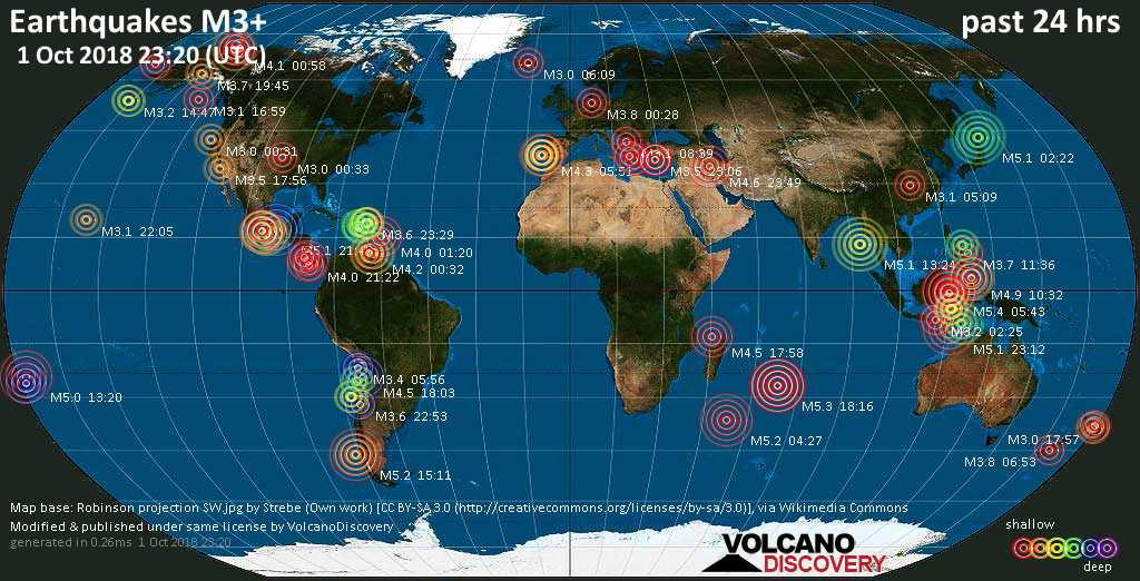 World map showing earthquakes above magnitude 3 during the past 24 hours on  1 Oct 2018
