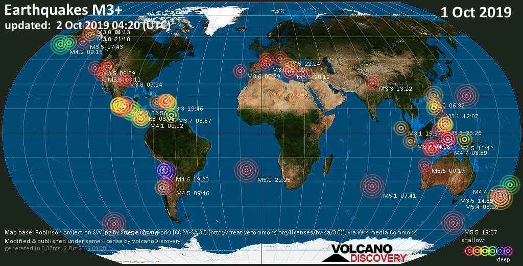 World map showing earthquakes above magnitude 3 during the past 24 hours on  2 Oct 2019