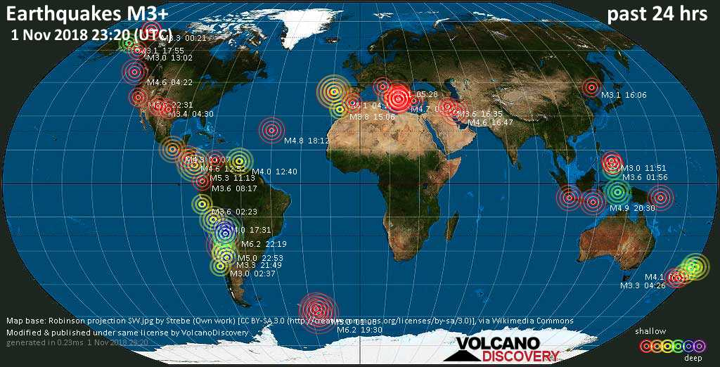 World map showing earthquakes above magnitude 3 during the past 24 hours on  1 Nov 2018