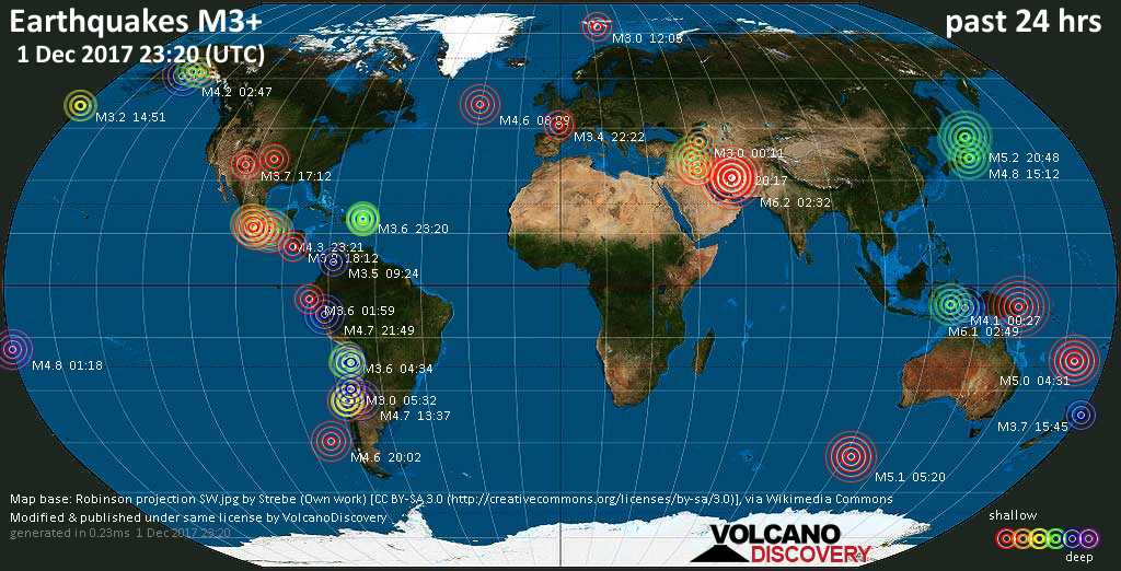 World map showing earthquakes above magnitude 3 during the past 24 hours on  1 Dec 2017