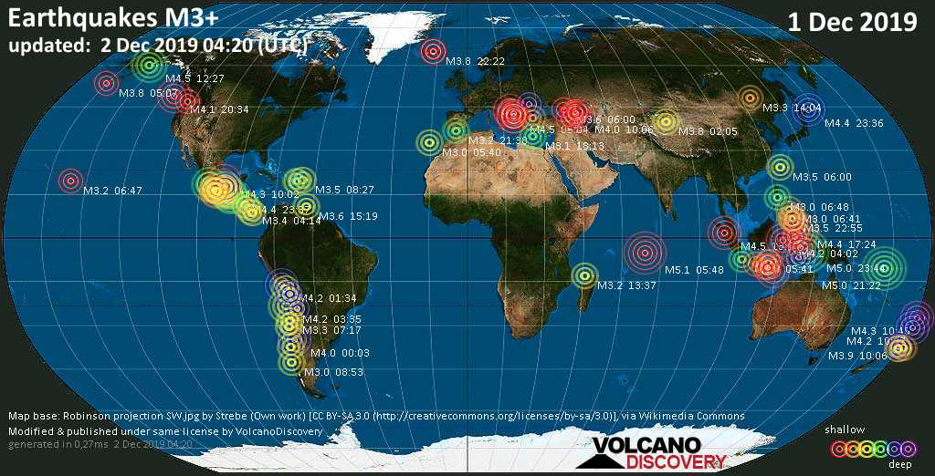 World map showing earthquakes above magnitude 3 during the past 24 hours on  2 Dec 2019