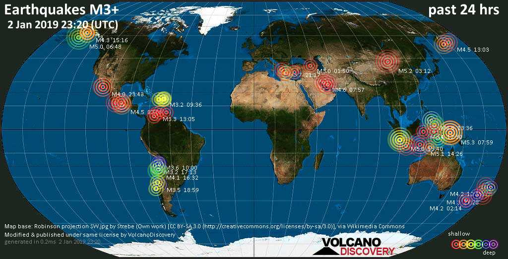 World map showing earthquakes above magnitude 3 during the past 24 hours on  2 Jan 2019