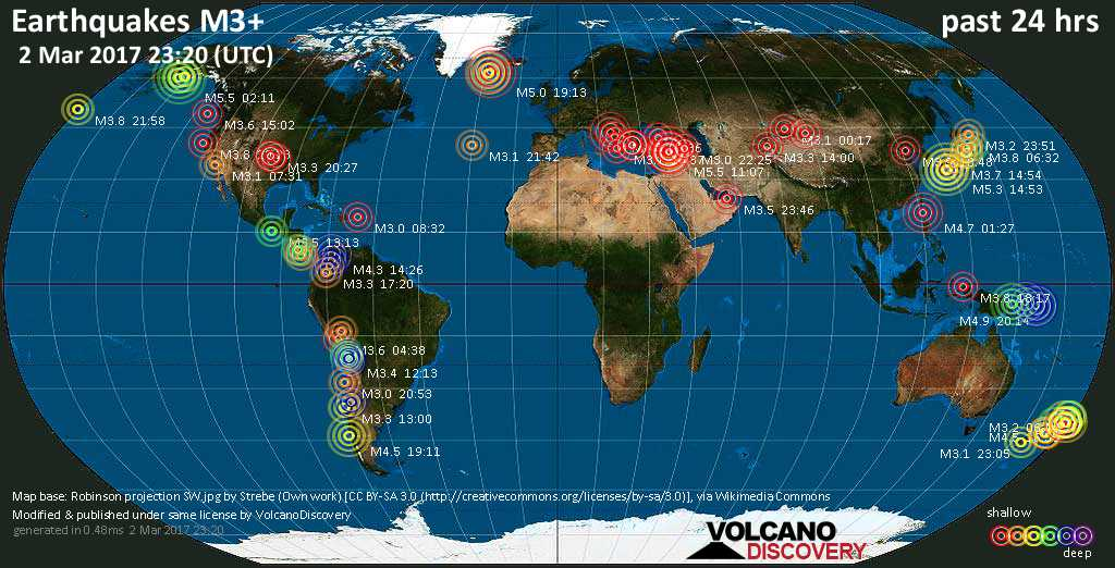 World map showing earthquakes above magnitude 3 during the past 24 hours on  2 Mar 2017