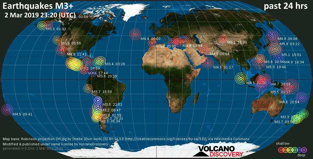 World map showing earthquakes above magnitude 3 during the past 24 hours on  2 Mar 2019