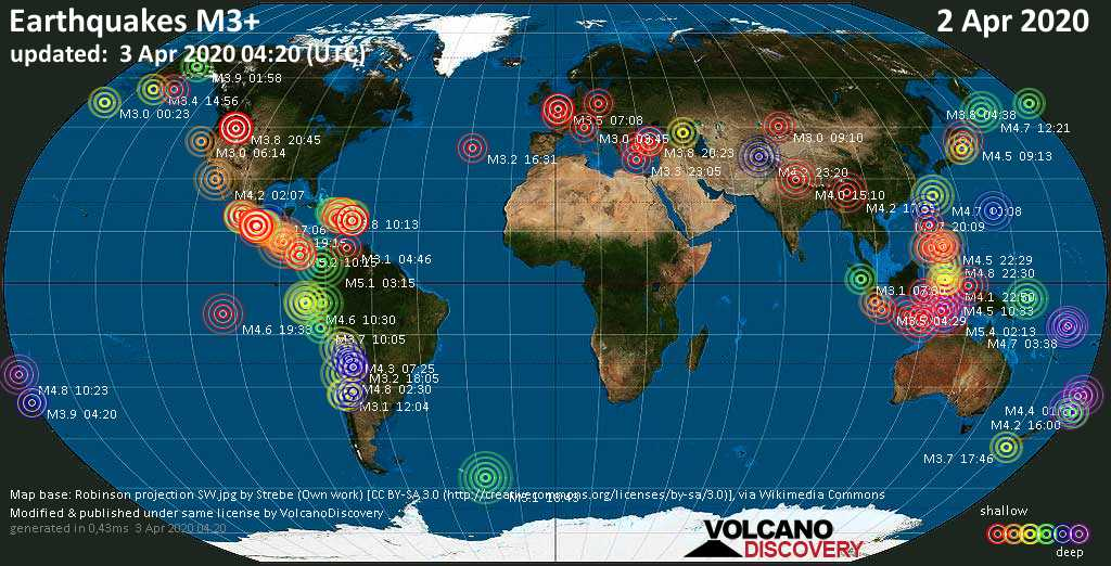 World map showing earthquakes above magnitude 3 during the past 24 hours on  3 Apr 2020