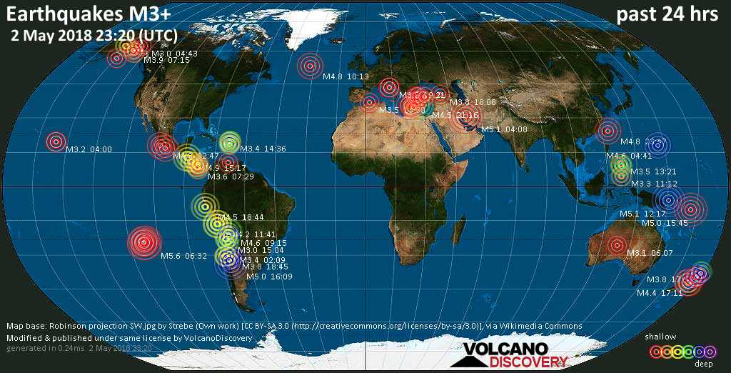 World map showing earthquakes above magnitude 3 during the past 24 hours on  2 May 2018