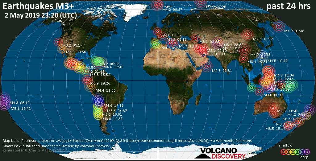 World map showing earthquakes above magnitude 3 during the past 24 hours on  2 May 2019