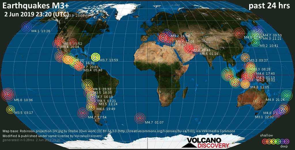 World map showing earthquakes above magnitude 3 during the past 24 hours on  2 Jun 2019