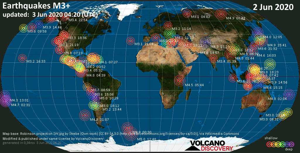 World map showing earthquakes above magnitude 3 during the past 24 hours on  3 Jun 2020